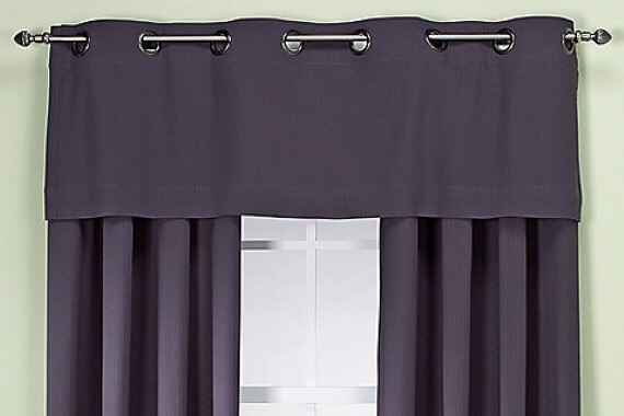 Stylish grey curtains with valance - Paul James Blinds
